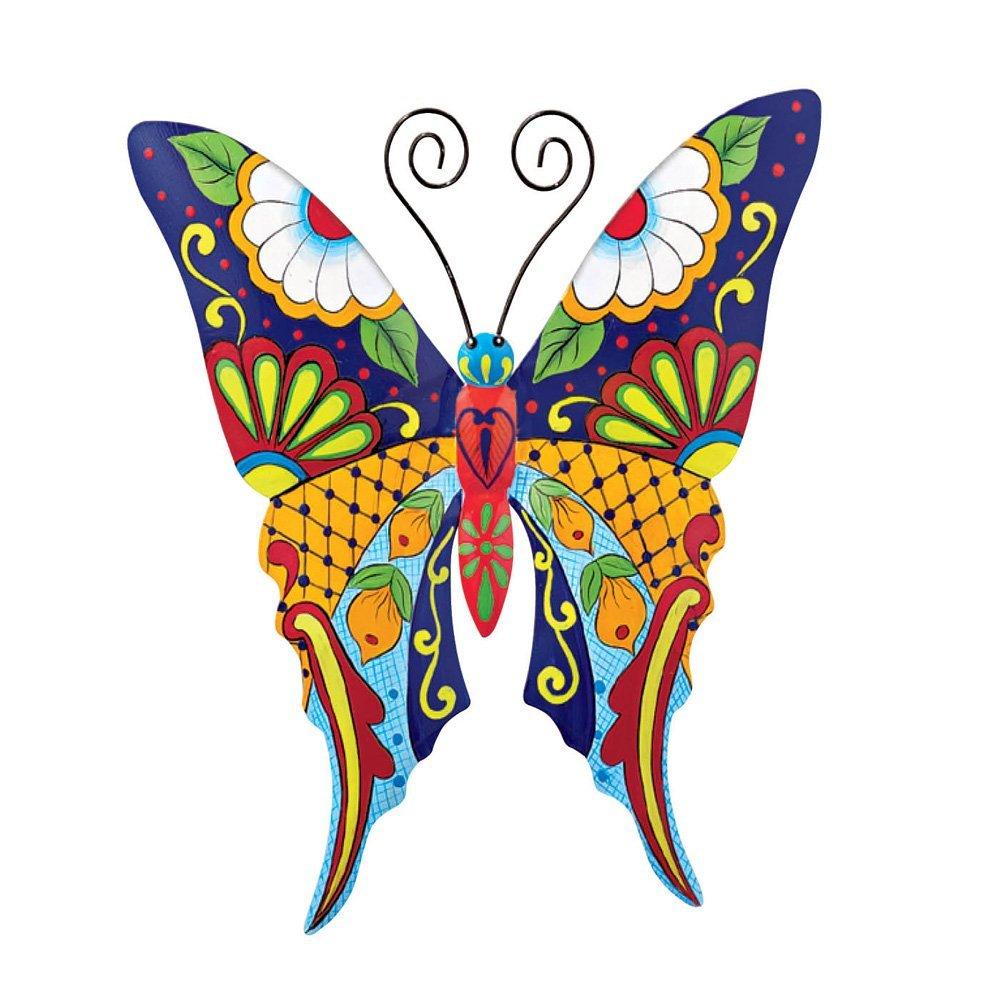 Southwestern Talavera Style Butterfly Metal Wall Art