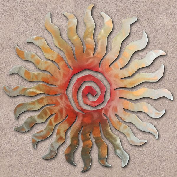 Sunset Swirl 24-Point Sunburst Metal Wall Art