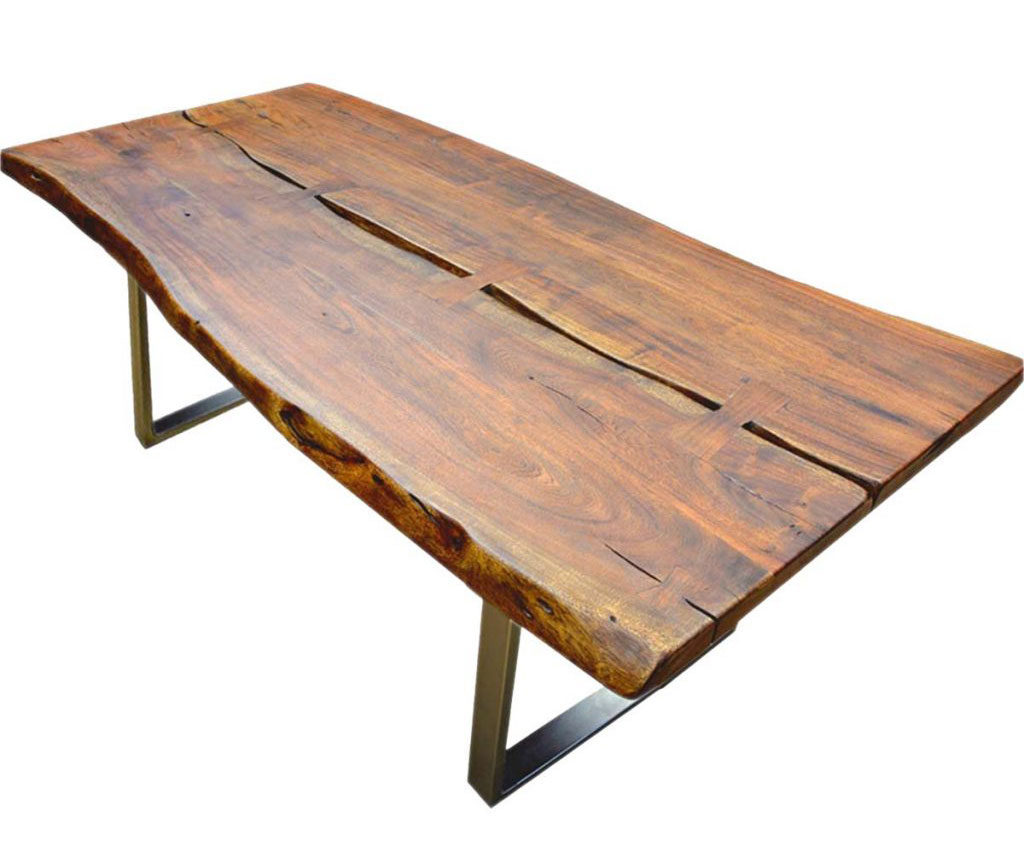 Solid wood living edge dining table