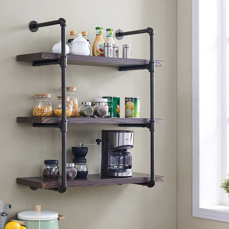 Homissue 3-Shelf Rustic Pipe Shelving Unit with Espresso Shelves