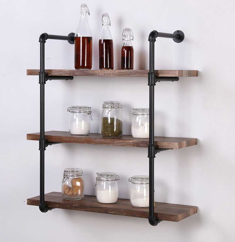 Homissue 3-Shelf Metal Rustic Pipe Shelving Unit with Retro Brown Shelves
