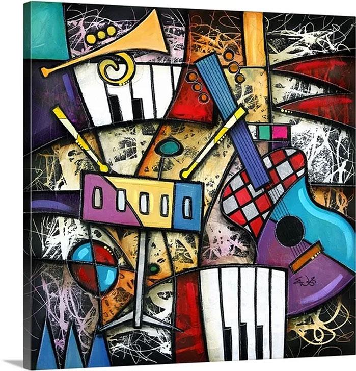 Eric Waugh Art | Checkered Guitar Jam Canvas Wall Art