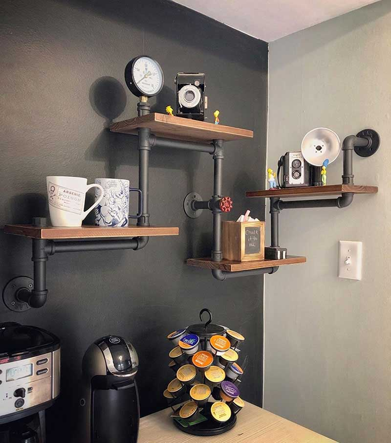Industrial Rustic 4 Layer Pipe Design Wall Shelf
