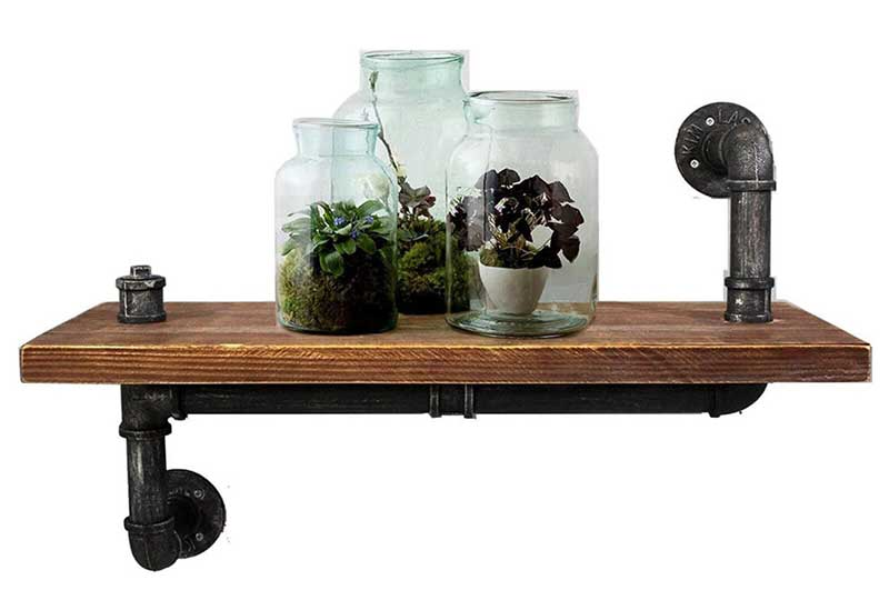 """DIWHY Open Industrial Pipe Floating Book Shelf 