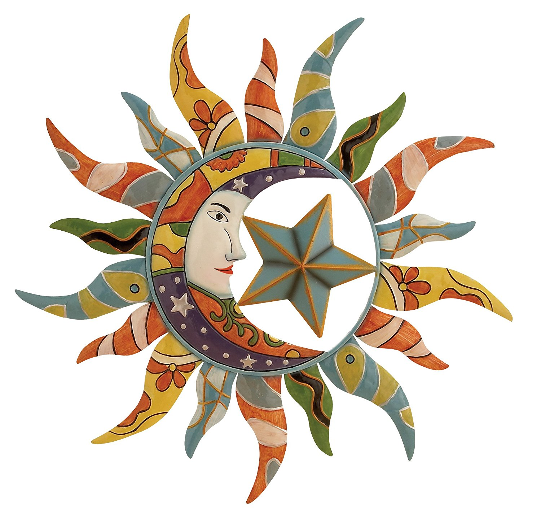 "Sun, Moon & Stars | Metal Wall Art | 25"""
