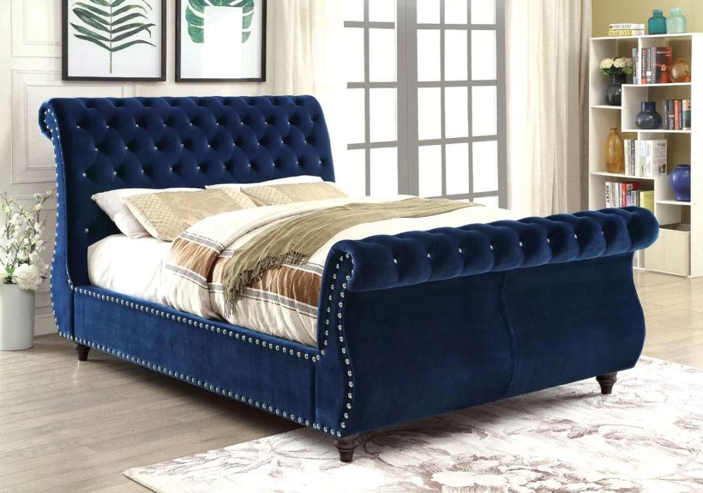 Upholstered Sleigh Beds   Hatfield Royal Blue Bed