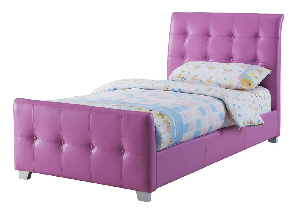 Upholstered Sleigh Beds   Lee Purple Twin Bed