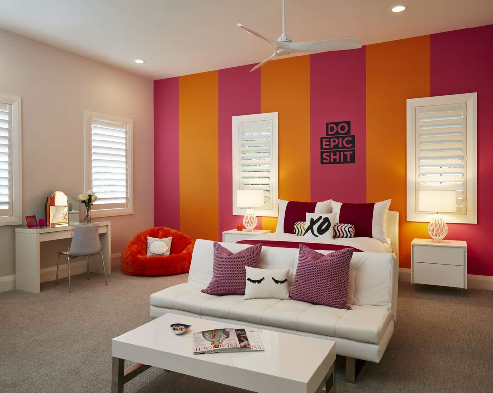 Colorful Orange & Purple Modern Bedroom Design
