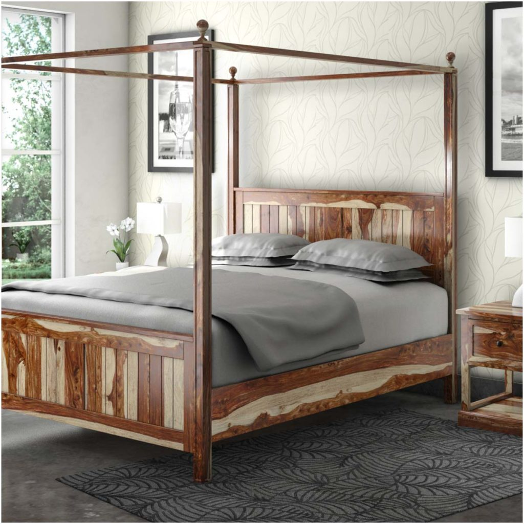 Rustic & Farmhouse Canopy Beds| Dallas Solid Wood King Platform Bed