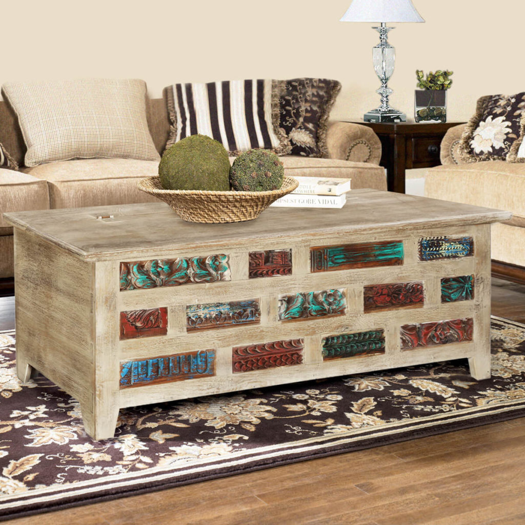 Wood Coffee Tables | Sierra Living Concepts | Impressionist Brick Wall Mango & Reclaimed Wood Coffee Table Chest
