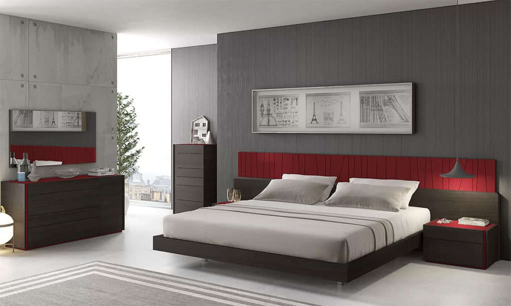 Modern Red & Gray Bedroom