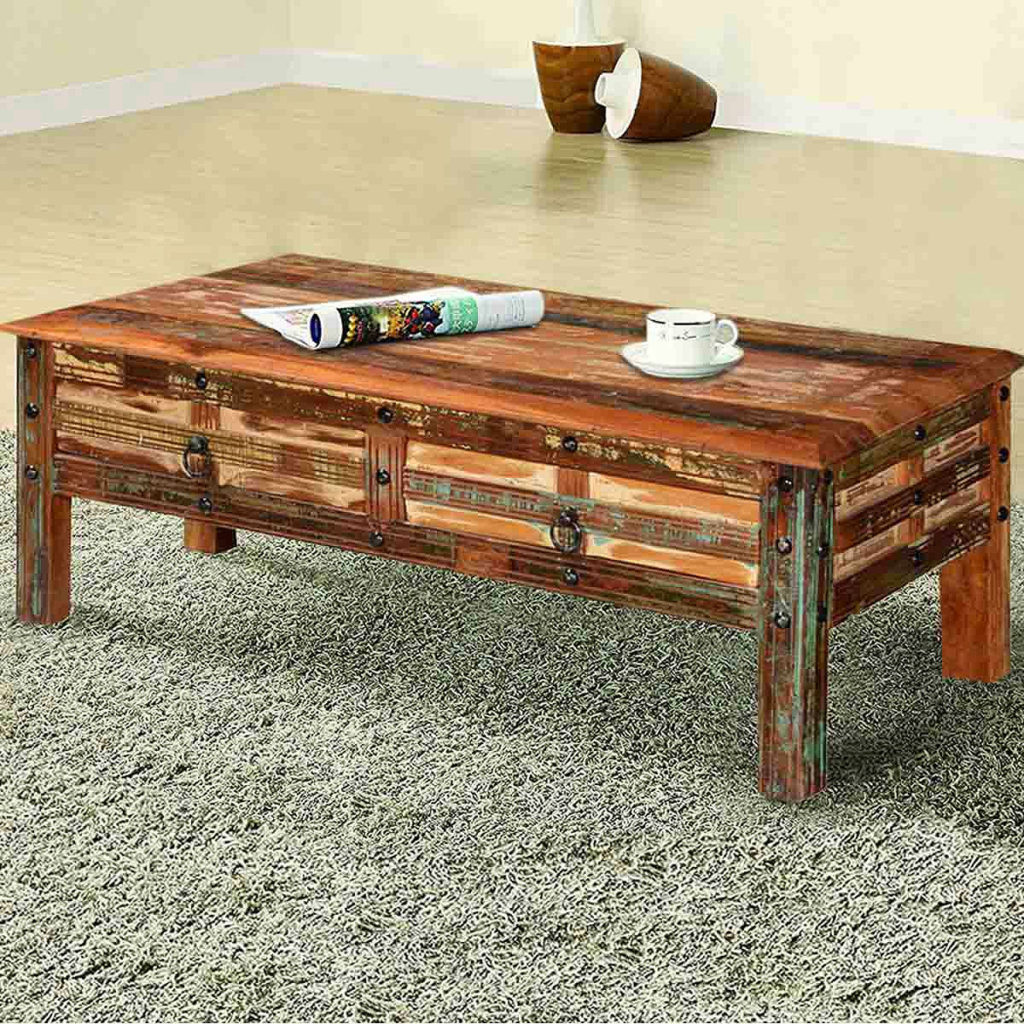 Rustic Wooden Coffee Tables | Sierra Living Concepts | Pioneer Rustic Reclaimed Wood 2 Drawer Coffee Table