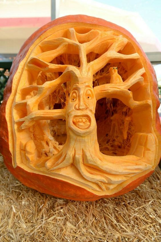 Creative Pumpkin Carving Ideas | Carved Tree Pumpkin