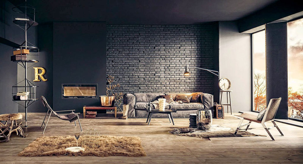 Dark Gray Painted Brick Wall by Lorenzo Pennati