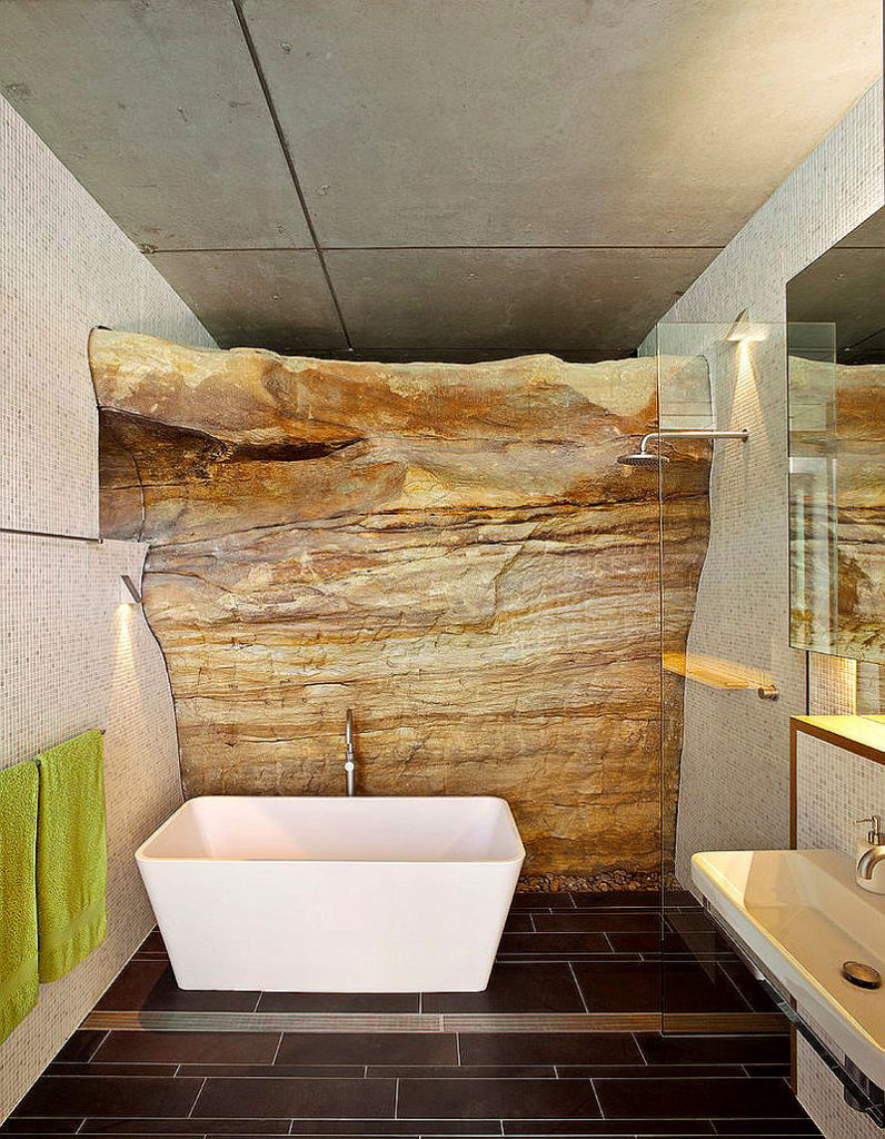 Exposed Rock as Architectural Feature in a Bathroom