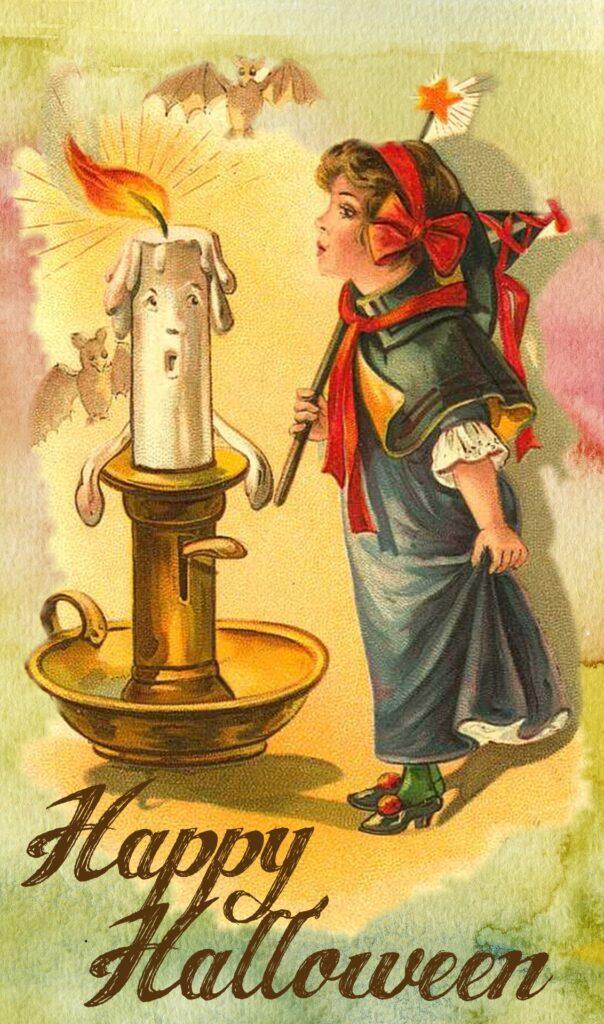 Halloween Girl Candle Vintage Printable