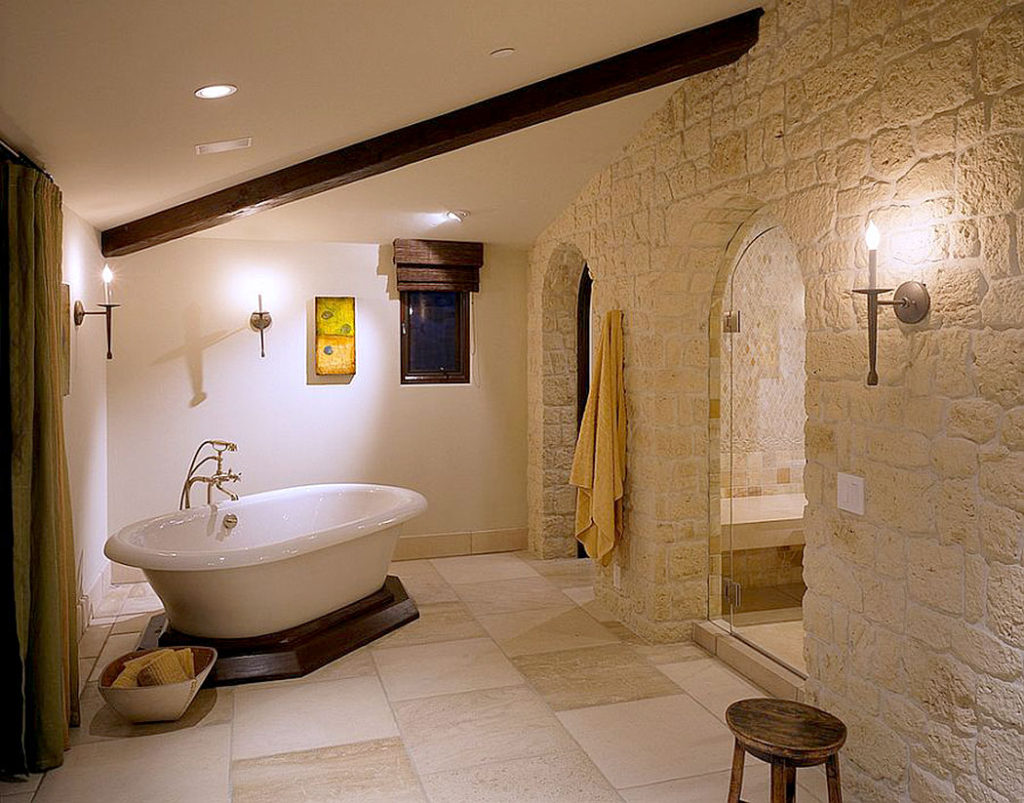 Mediterranean Stone Bathroom Walls