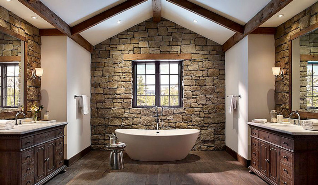 Rough Cut Stone Walls in a Vaulted Bathroom