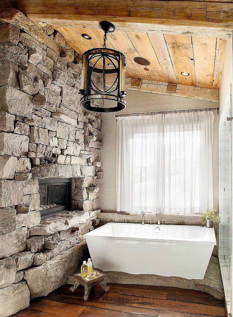 Rustic Ski Lodge Stone Bathroom Wall