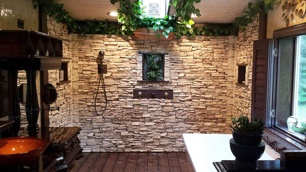 Stone Paneled Wall in Walk-In Shower