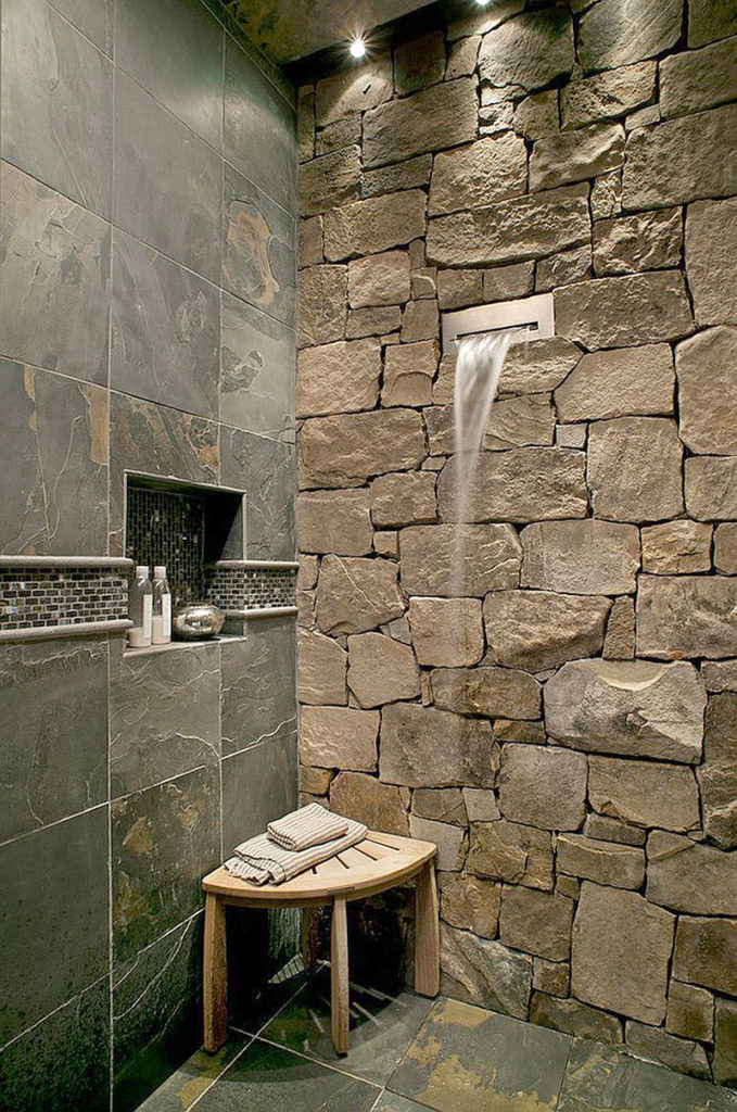 Stone Wall Shower Stall Waterfall Feature