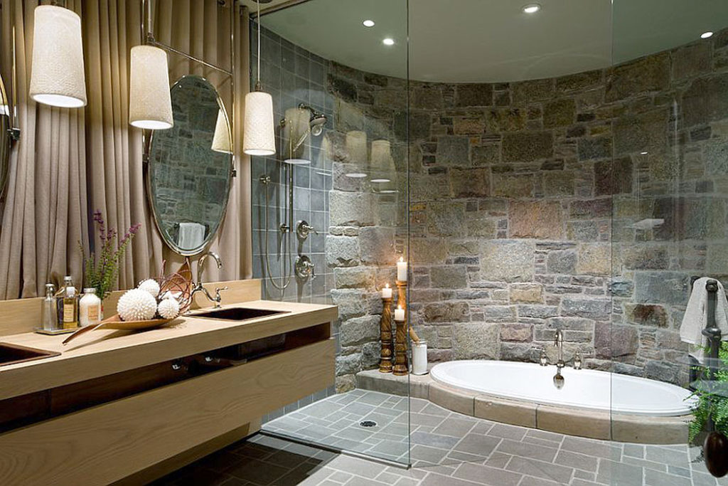 Stone Sunken Jacuzzi Surround Bathroom
