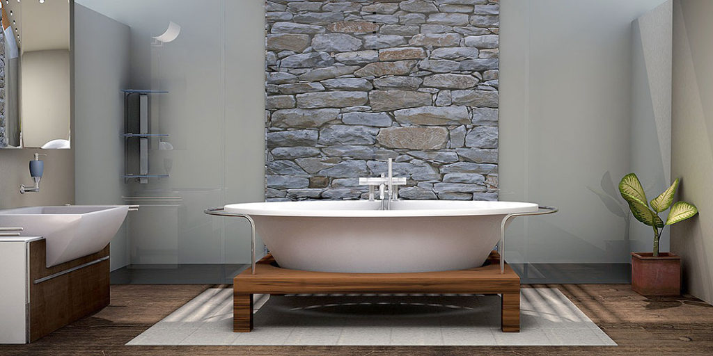 Stone Wall Focal Point in Stunning Bathroom