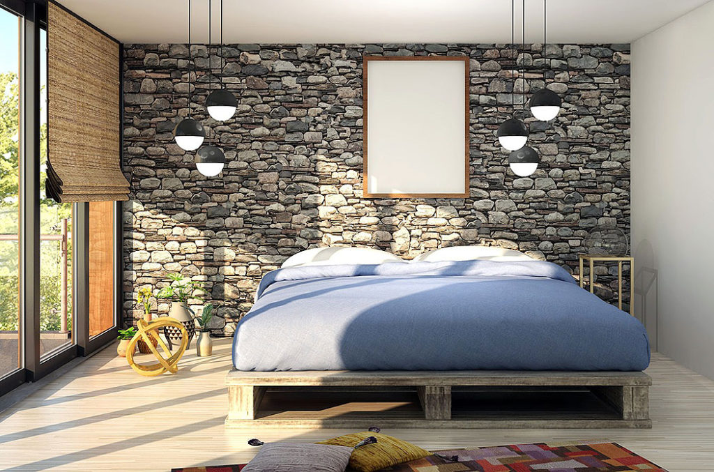 Stone Feature Wall in the Master Bedroom