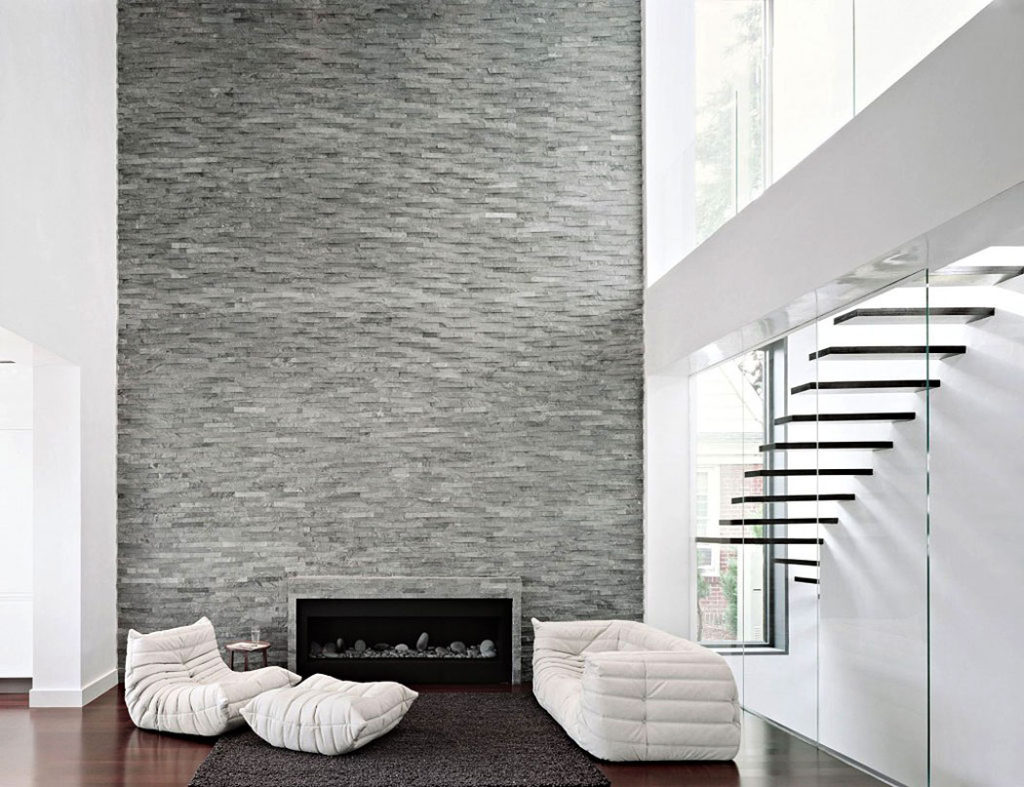 Two Storey Modern Gray Stone Wall