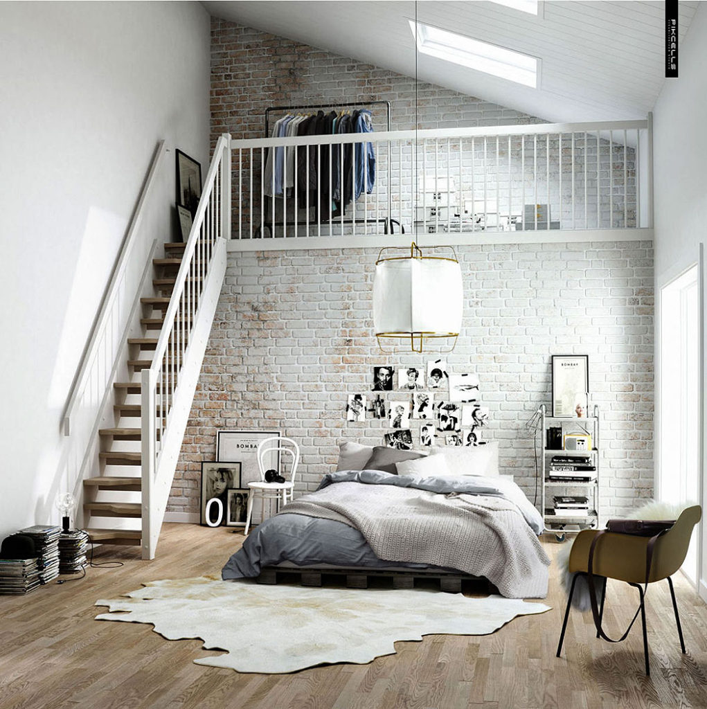 Two Story Whitewashed Loft Brick Wall