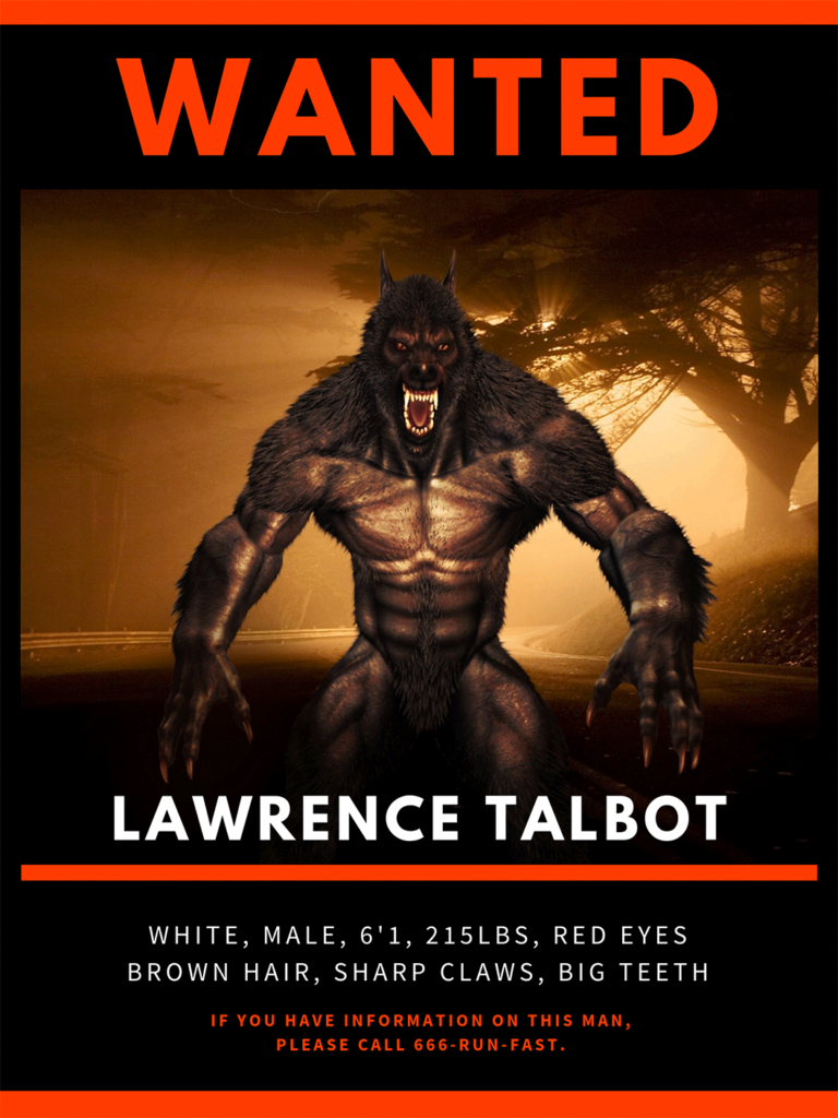 Werewolf Wanted Poster Printable Halloween Sign