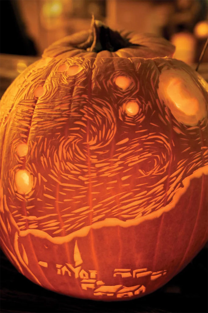 Creative Pumpkin Carving Ideas | Vincent van Gogh The Starry Night Pumpkin