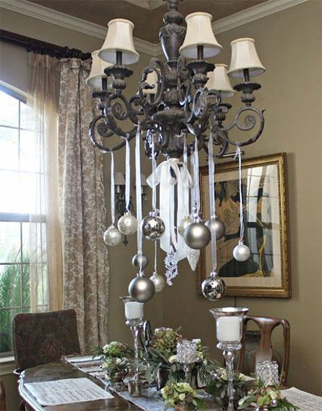 Baroque Silver Christmas Ornaments Chandelier