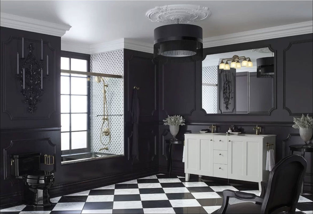 Bathroom with Black Walls