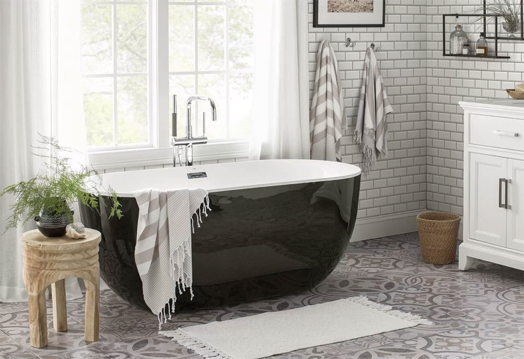 Black, White, and Gray Bathroom