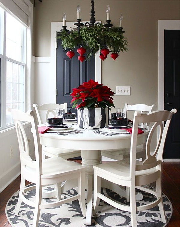 Black, White, Green, & Red Christmas Chandelier