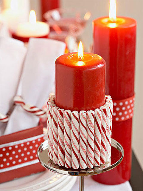 Candy Cane Candle Cuff Christmas Table