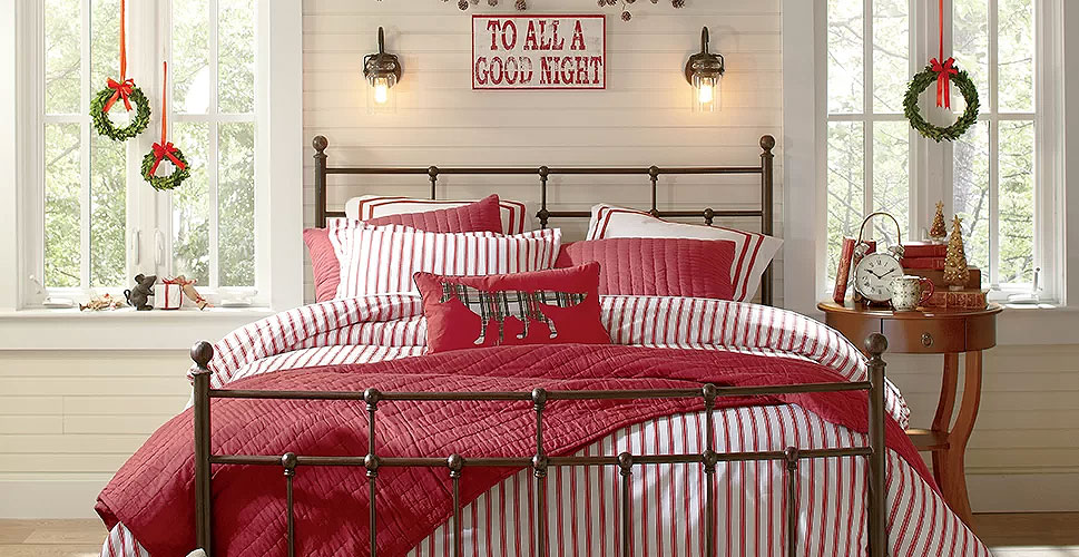 christmas bedroom decor red white stripes