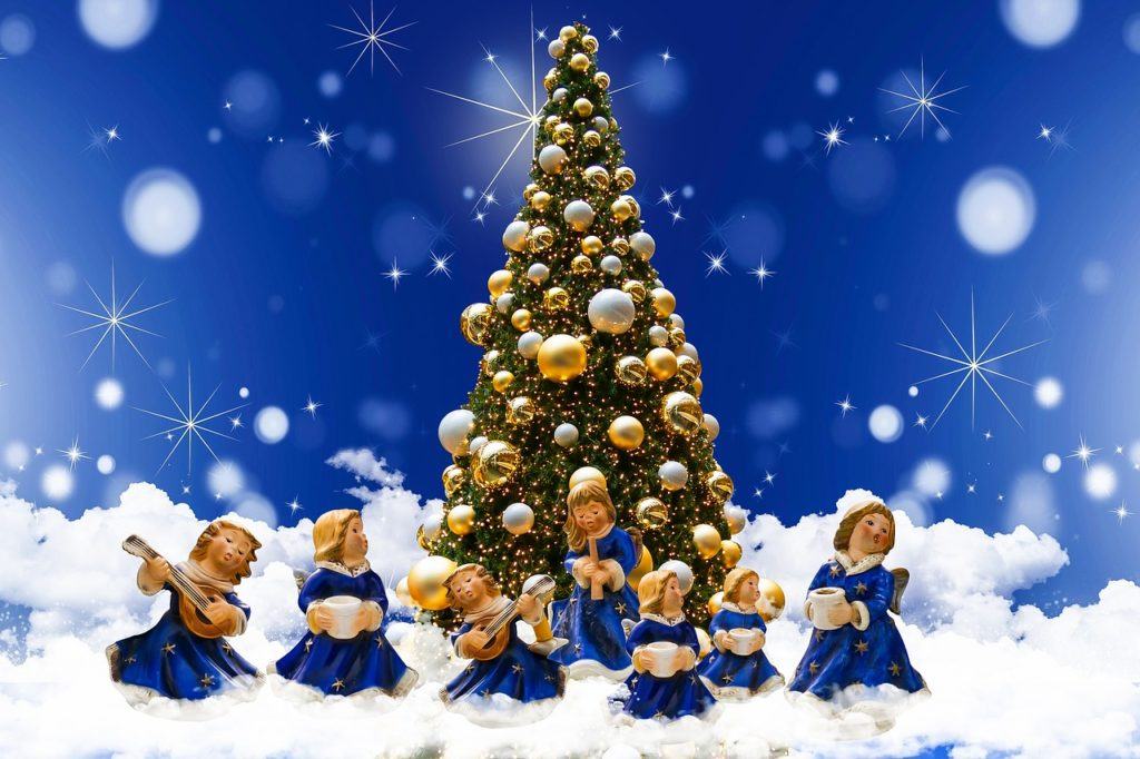 Christmas Decor Blue Christmas Angels