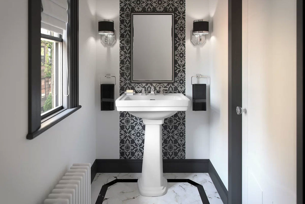 Classic Black & White Powder Room