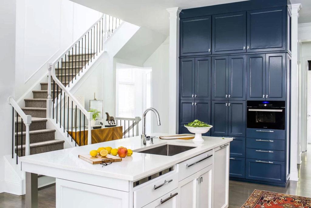 Contemporary White & Blue Kitchen