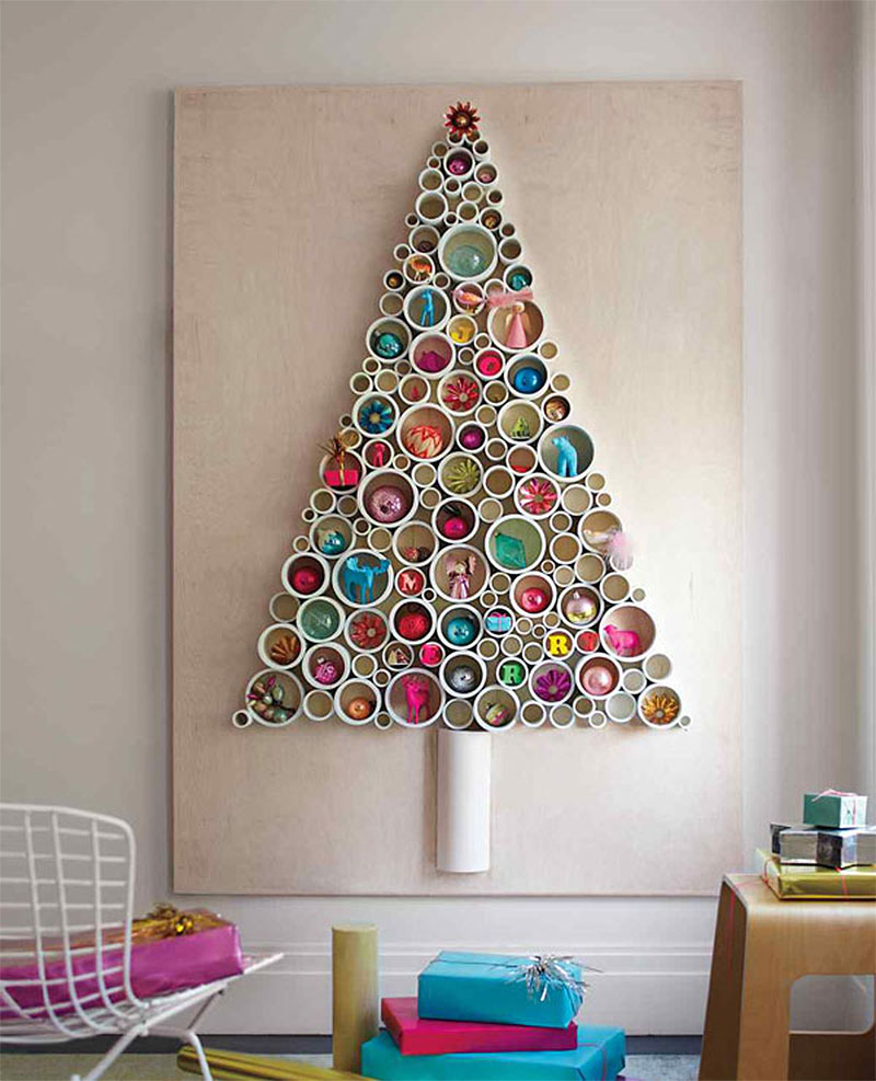 DIY Wall Tube Christmas Tree