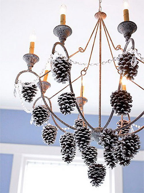 Frosted Christmas Pinecone Chandelier