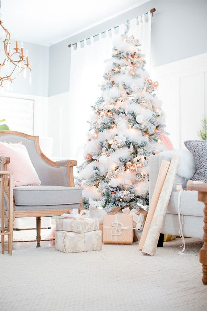 Glam Flocked Christmas Tree