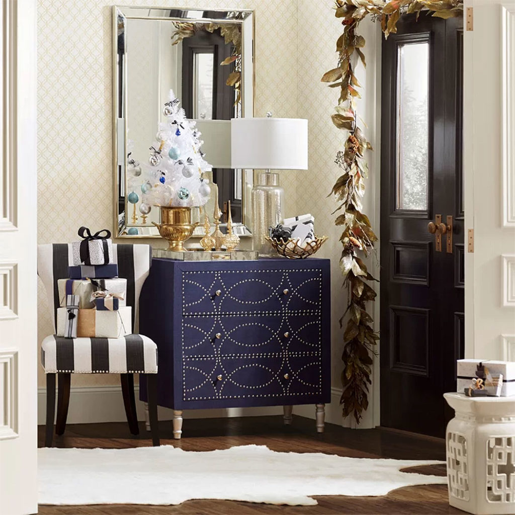 Hollywood Glam Christmas Entryway