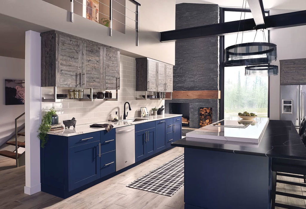 Industrial Loft Kitchen with Navy Blue Cabinets