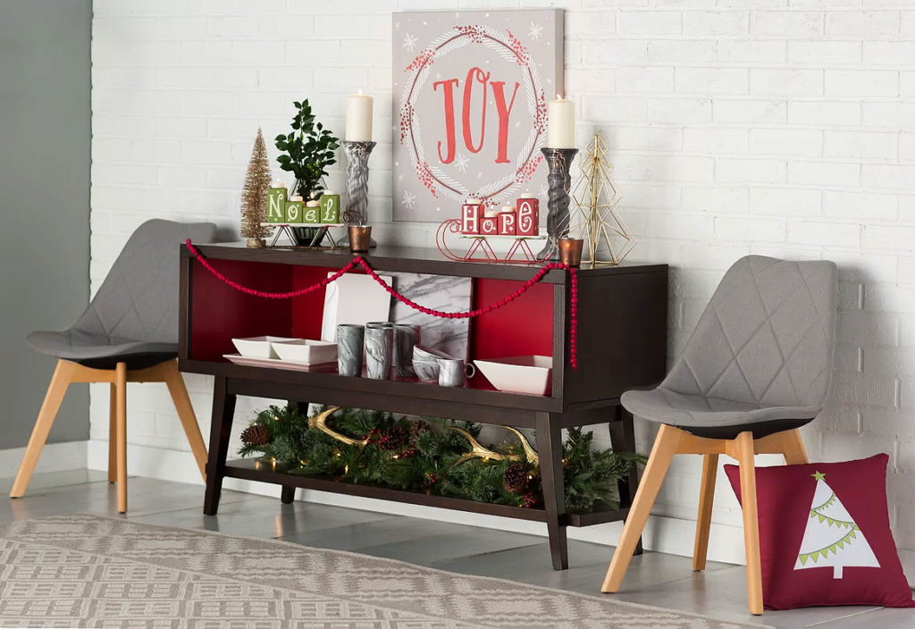 Joyous Mid-Century Modern Christmas Hall Table