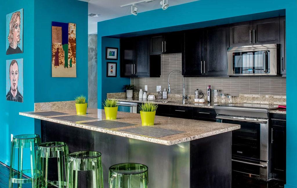 Modern Pop Eclectic Blue Kitchen Design