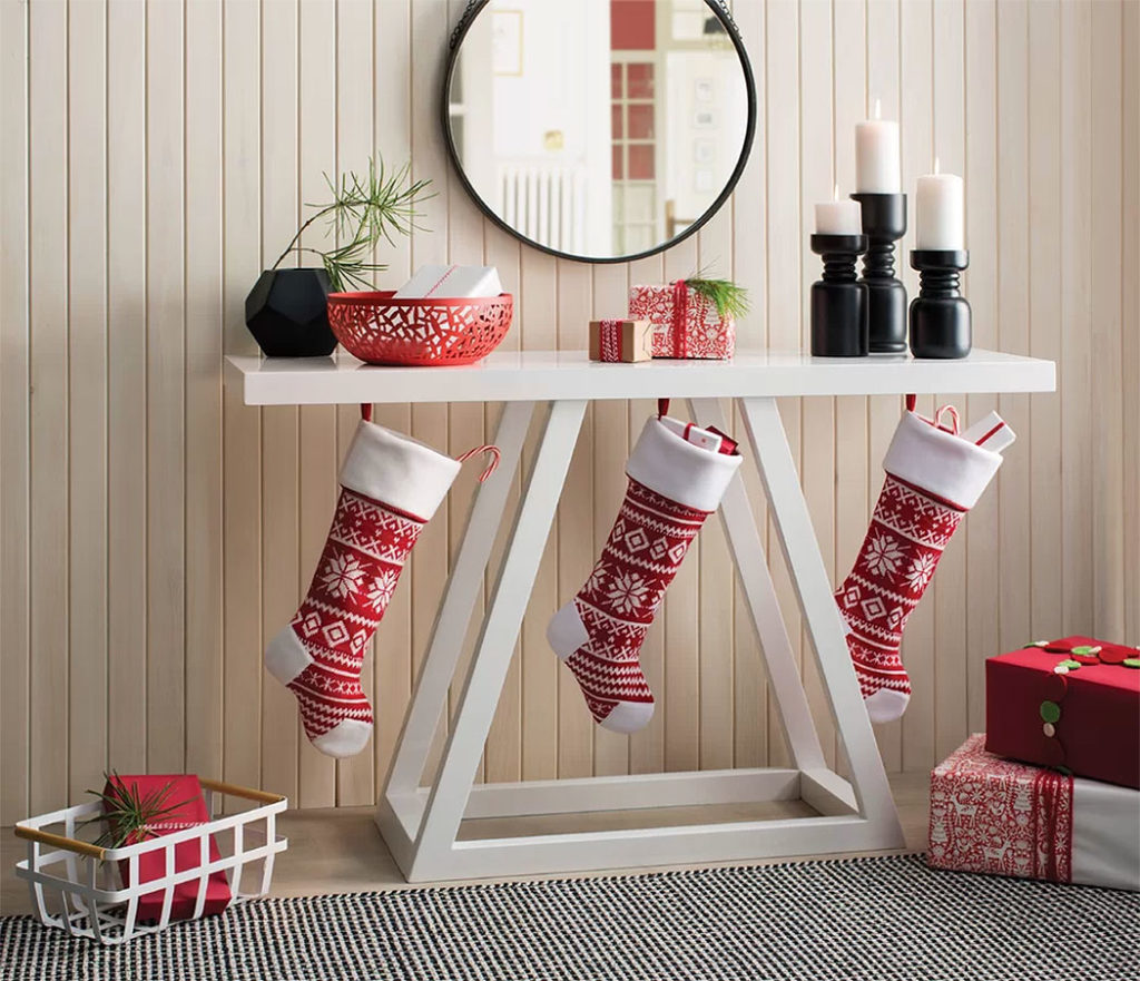 Modern Stockings Christmas Hall Table