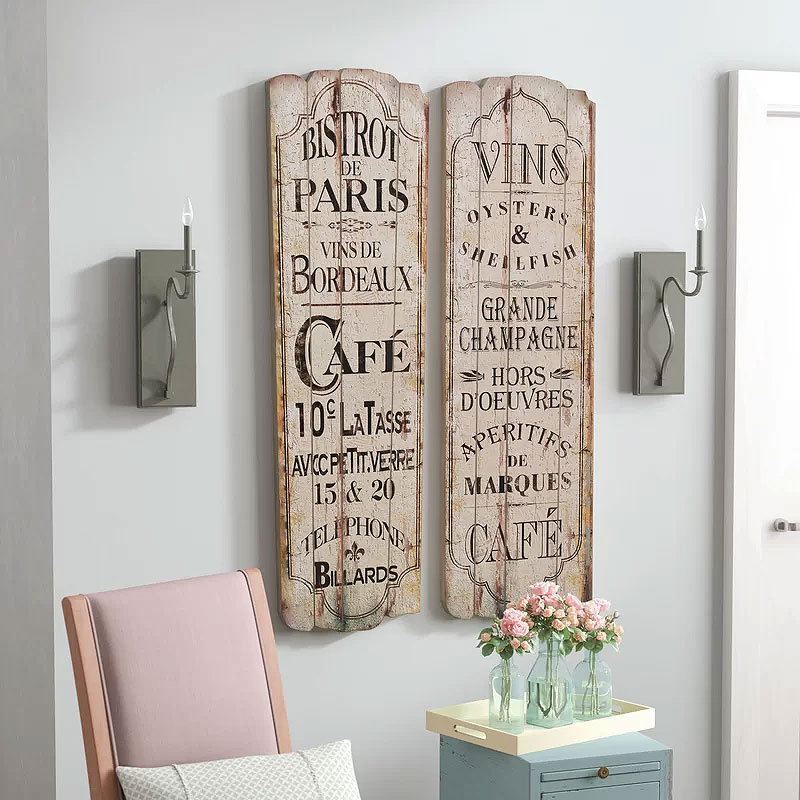 Paris Cafe 2 Piece Textual Art Set